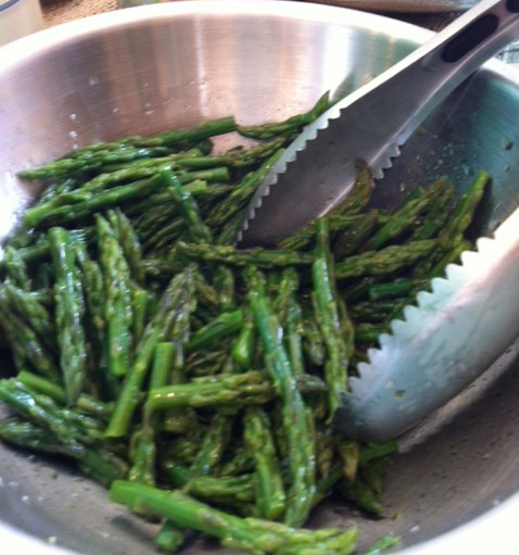 smoky asparagus tips